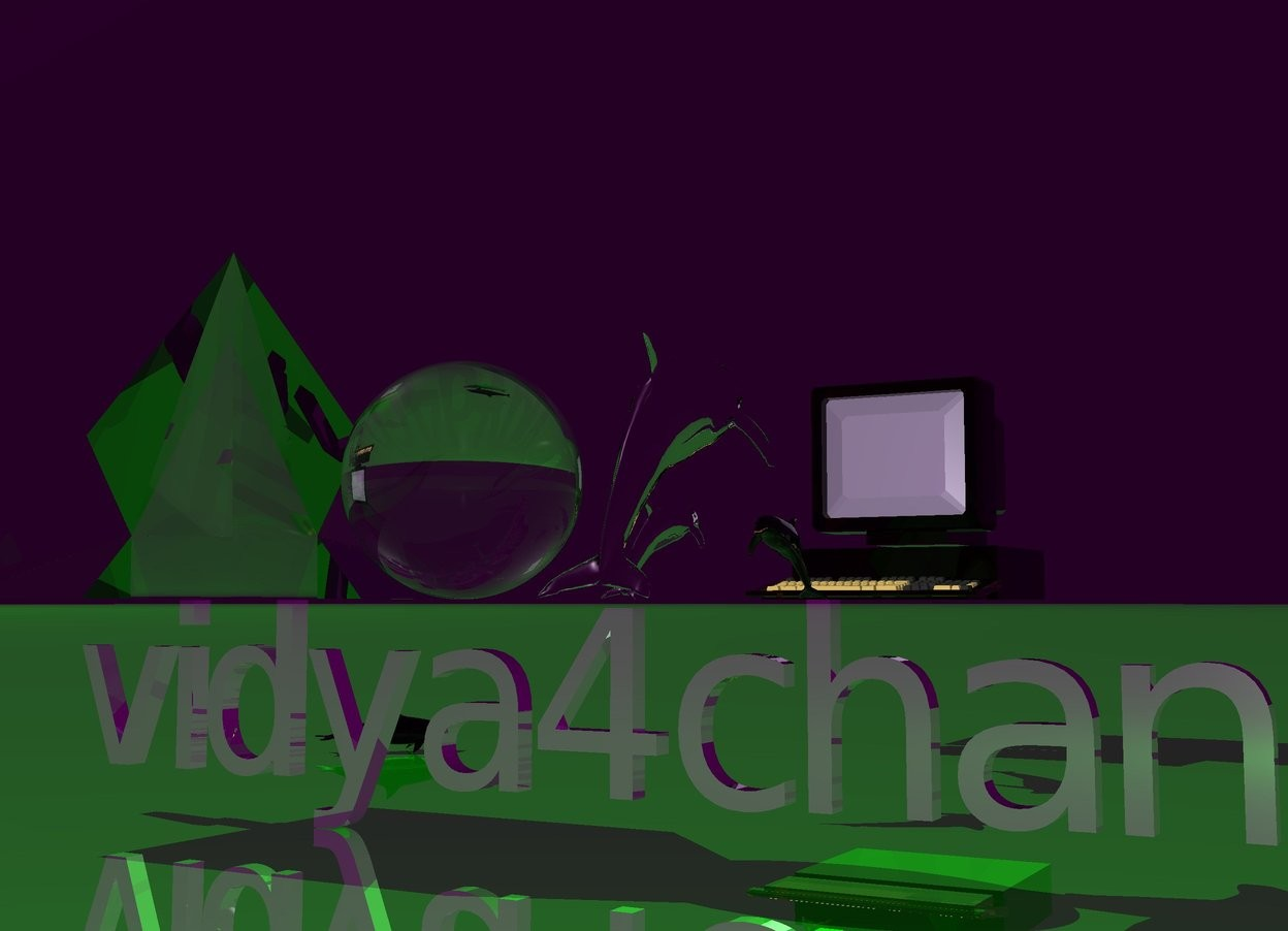 Input text:  vidya4chan is reflective  vidya4chan is really big  vidya4chan is purple   the ground is reflective  the ground is green   the sky is bright purple     huge clear sphere above vidya4chan   a 2 meter tall clear pyramid  is left of the huge sphere   a shiny silver dolphin above vidya4chan   theres a giant clear computer 5 meters behind the sphere  the shiny dolphin is facing the computer   theres a small silver dolphin 1 meter behind the sphere  the small silver dolphin is facing the computer  theres a small clear silver dolphin 3 meter behind the sphere  small clear purple  dolphin is facing the computer  there is a purple light inside the huge clear sphere