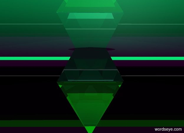Input text: the first clear pyramid is upside down.   the 2nd clear pyramid is on it. the sky is spring green.     the ground is purple.    small clear pyramid  6 inches in the 2nd clear pyramid.   the bright blue light is 4 inches above the 2nd clear pyramid.   a clear lime wall is left of the first clear pyramid.   it is twelve inches tall and 500 feet long. it faces left  . a clear purple wall is above the clear lime wall. it is 2 inches tall and 5 feet long.   its top is clear purple.   it faces left. its bottom is clear purple  .  the 3rd clear purple sphere is 5 inches above the wall