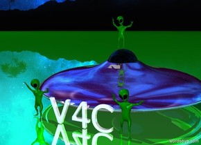 V4C is reflective. V4C is 2 meters long.V4C is in front of the ufo. The ground is green. The ground is reflective. The 2 meter tall ufo is purple and gray. The green alien is dancing. The alien is on the ufo. V4C is in front of the ufo. The second green alien is left of V4C. The alien is dancing. The third green alien is dancing right of V4C. The ufo is reflective.