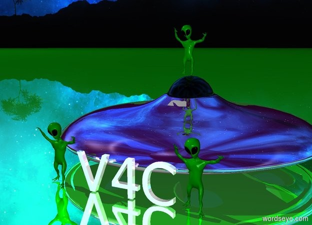 Input text: V4C is reflective. V4C is 2 meters long.V4C is in front of the ufo. The ground is green. The ground is reflective. The 2 meter tall ufo is purple and gray. The green alien is dancing. The alien is on the ufo. V4C is in front of the ufo. The second green alien is left of V4C. The alien is dancing. The third green alien is dancing right of V4C. The ufo is reflective.