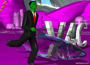 """The 20 inch tall green man is next to a transparent salmon the ground is purple. The 15 inch tall green word """"V4C"""" is to the right of the salmon"""