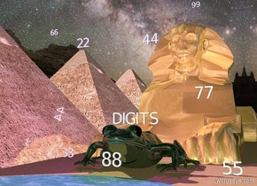 "there is a sphinx behind an extremely enormous frog. there are 3 pyramids next to the sphinx. the medium ""DIGITS"" is white and above the frog. the pyramids are shiny. the frog is shiny.  the sphinx is shiny. the ground is yellow stone. the sky is purple stars. the indigo light is 5 feet above the frog. there is a pond in front of the frog. the large ""22"" is 1 foot above the pyramids. the large ""44"" is above and to the right of the pyramids. ""77"" is 1 inch to the right and 3 feet above the frog. ""88"" is behind the pond and one foot above the pond. ""33"" is to the right of the pyramid. ""99"" is 9 feet above the sphinx. ""55"" is 3 feet to the right of the frog. ""66"" is 15 feet in front of the ""22""."