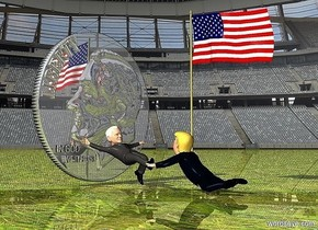 a 12 feet tall shiny dime.a joe is in front of the dime.a donald is in front of the joe.he is facing the joe.a big flag is 1 feet right of the donald.it is facing west.ground is shiny grass.