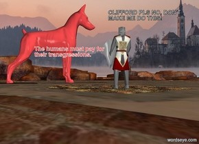 There is a deep valley. In the middle of the valley there is a small knight. 6 meters in front of the knight is a huge scarlet dog. The dog is facing left.