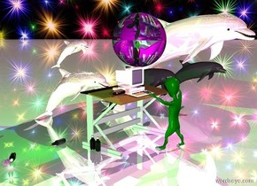 It is morning. The sky is stars. The sun is pink. The green alien is dancing. The pink computer is on a desk. The computer is reflective. The alien is 5 inches in front of the desk. The alien is facing the computer. The pink reflective dolphin is behind the desk. The small pink reflective dolphin is above the dolphin. The third large pink reflective dolphin is on the left side of the first dolphin. The ground is bright. The bright purple light is in front of the computer. The first green soda is left of the desk. The second soda is behind the first soda. The second soda is facing the alien. The third soda is leaning 90 degrees towards the alien.The fourth soda is leaning 90 degrees left of the first soda. The fourth soda is facing the alien. The hotdog is on left side of the computer. The fifth soda is on right side of the computer. A large purple light is in front of the computer. A large green light is under the alien. The sphere is [v4c]. The sphere is above the second dolphin. The sphere is 4 feet tall. A large green light is above the sphere.The ground is shiny.