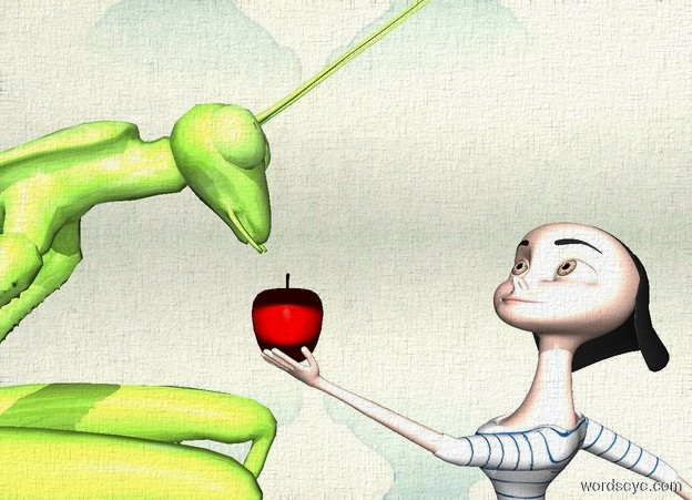 Input text: a 5 foot tall dull praying mantis. a person is -1.25 foot in front of the praying mantis. he faces back. ground is silver. an apple is -.3 feet behind and -.8 foot above the person.
