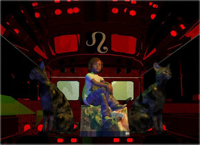 A small child is -4 feet above a clear bus. Camera light is black. A green light is above and left of the child. An orange light is right of and in front of and above the child. The child is 5.5 inch in a small shiny marble box. The child is leaning 8 degrees to the back. The box is leaning 5 degrees to the front. A pale cat is -3 inch left of the box. It is facing southwest. A navy light is left of and in front of the cat. A pale cat is -4 inch right of the box. It is facing southeast. Sun is cyan. Shiny backdrop. A dim light is 4 feet in front of the cat. A tiny pale gold symbol is above and -7 inch left of the child.