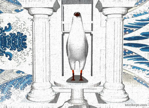 a 4 foot tall bird is on a marble table. the table is on a 10 foot wide and 10 feet deep white circle. a 60% dim sea mist blue light is in front of and above the bird. it is noon. a 1st small marble column is behind and right of the table. a 2nd small marble column is behind and left of the table. a small white building is behind the pillars. ground is silver. sun is dim linen. the door of the building is white.