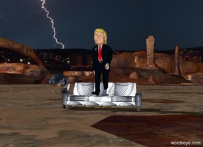 Donald is on a [15768 ] couch. the large silver sphere is 2 foot to the left of donald