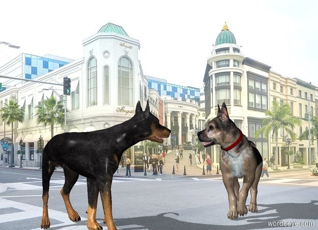 Input text: a 2 foot tall doberman is .5 feet left of a 2 foot tall german shepherd. the german shepherd faces southwest.backdrop is shiny city. sky leans to the front.