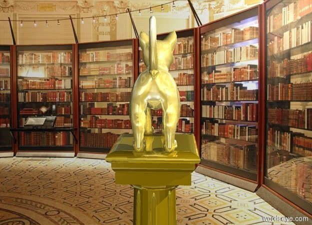 Input text: a gold cat is on a very small gold pedestal. backdrop is room.