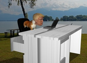 The lake backdrop. The chair is -1 foot in front of the white wood desk. It is facing back. A dog is 1.5 feet in the chair. It is facing back. The computer is on the desk. The head is -9 inches behind and -9 inches above the dog. It is facing back.