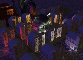 A brown town. 3D ground. Camera light is black. Sun is navy. A lemon light is -8 feet above the town. A 20 feet high monster is next to the light. It is leaning 10 degrees to the front. A crimson light is left of the town. A tiny building is behind the town. A small brown building is left of the building. 2 dim green lights are in front of the town. A tiny car is 10 feet in front of and -2 feet right of the monster. It is on the ground. A light is in front of the car. A tiny man is right of and -4 inch in front of the light. He is facing east.