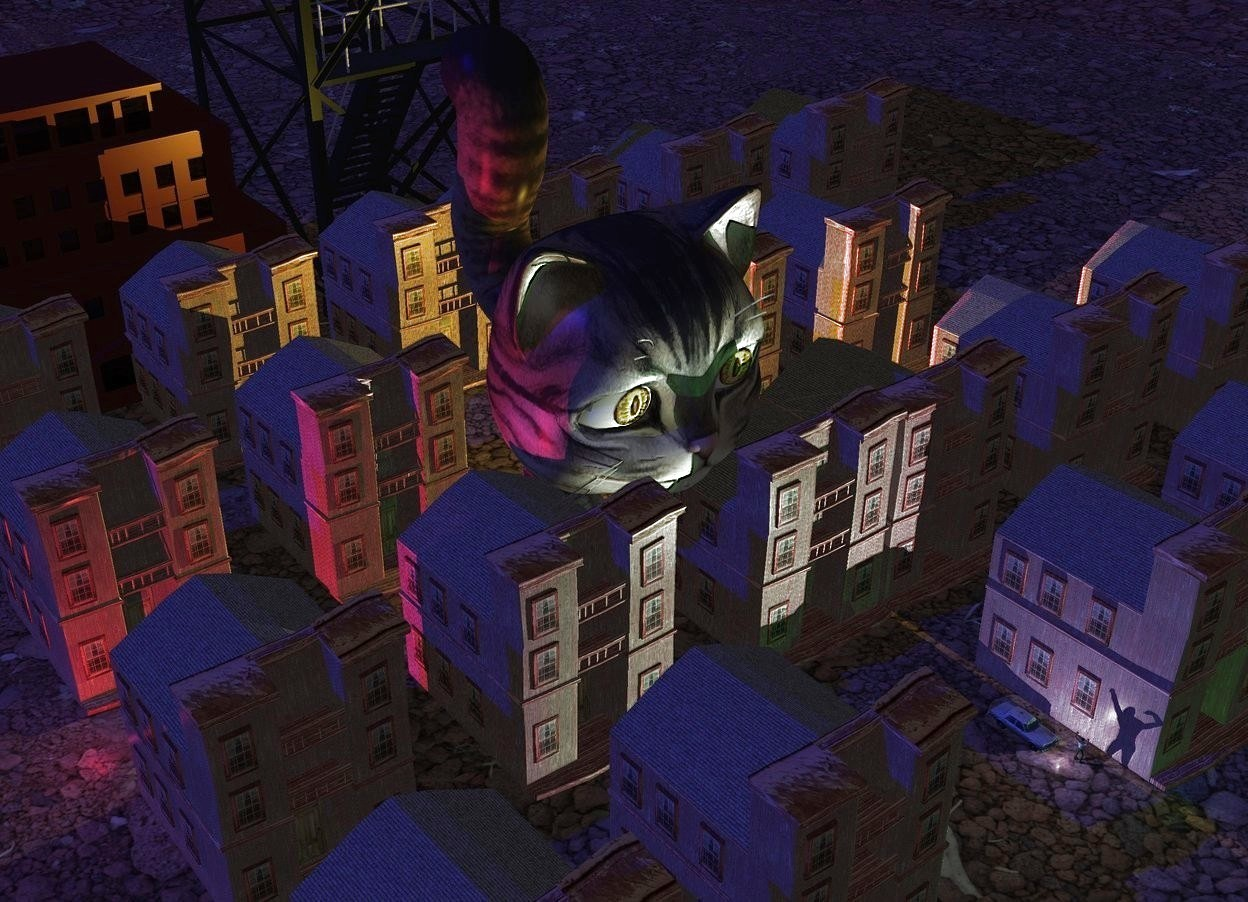 Input text: A brown town. 3D ground. Camera light is black. Sun is navy. A lemon light is -8 feet above the town. A 20 feet high monster is next to the light. It is leaning 10 degrees to the front. A crimson light is left of the town. A tiny building is behind the town. A small brown building is left of the building. 2 dim green lights are in front of the town. A tiny car is 10 feet in front of and -2 feet right of the monster. It is on the ground. A light is in front of the car. A tiny man is right of and -4 inch in front of the light. He is facing east.