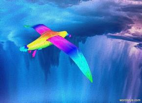 a shiny rainbow bird is 30 feet above the ground.silver ground.