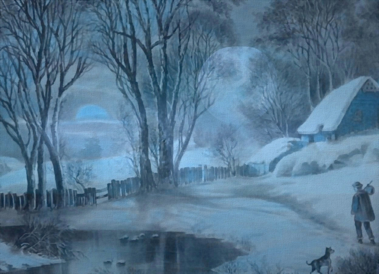 Input text: a shiny  [winter] backdrop.sky is  [fog].sky is 10000 feet tall and 10000 feet wide and 10000 feet deep.sun is igloo blue.backdrop is igloo blue.