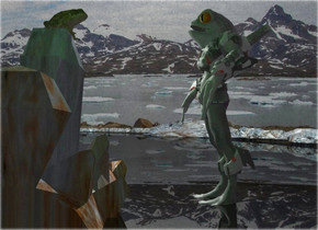 A grey alien is -8 feet above a black shiny river. A large marble rock is 1 foot in front of the alien. A large yellow frog is on and -3.6 feet in front of the rock. It is facing the alien. It is leaning 8 degrees to the front. Camera light is black. A light is 2 feet left of and above the frog. A dim green light is 2 feet right of and above the frog.