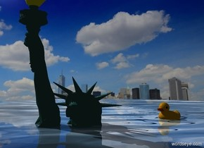 Statue of Liberty is -33 feet above a shiny lake. The lake is 50 feet wide water. New York backdrop. Camera light is black. A huge duck is -17.1 feet above and -2 feet right of and behind the Statue of Liberty. It is facing southwest.
