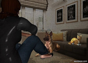 a dog.a woman is in front of the dog.she is facing the dog.a cat is -15 inches above the dog.it is right of the dog.the cat is behind the dog.pale shadow plane.a lilac light is behind the woman.a 50% yellow light is left of the dog.the cat is facing southeast.