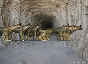 1 foot long wolf behind 2 foot long wolf. 2 foot long wolf behind 3 foot long wolf. 3 foot long wolf behind 4 foot long wolf.  The wolves are 1 foot tall and 1 foot deep.