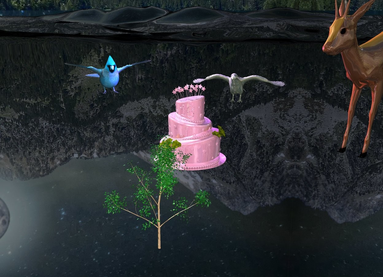 Input text: 1st invisible marble is 5 feet above ground. 1st shiny cake is on 1st marble. 1st 50% shiny deer is 0.8 feet to right and 2 feet behind 1st cake. it is 3 feet tall. it is 4.3 feet above ground. it is facing 1st cake. 1st shiny silver green crow is 3 feet behind 1st cake. 2nd giant sky blue bird is 1.5 feet to left and 3 feet behind 1st cake. it is facing 1st cake. ground is 50% shiny black. 1st shiny tree is 1 foot in front of 1st marble. it is 1.3 foot tall. it is 4.5 feet above ground. 3 old gold lights are 3 inches above 1st crow. 3 blue lights are 4 inches above 1st crow. sun is gold. camera light is 50% pink