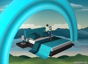 a  [sky] backdrop.ground is invisible.a 100 inch tall powder blue bed is 100 inch above the ground.sky is powder blue.a 100 inch tall woman is on the bed.a 400 inch tall 20% shiny  powder blue rainbow is -140 inch above the bed.