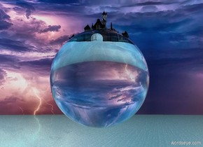 A very tiny glass castle is inside a humongous transparent glass sphere.  The sphere is fifty feet above the watery ground.