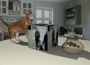 the [bernie] cube is on the large table. the kitchen backdrop. the cat is -4 inches to the left of the cube. the cat is 20 inches tall. it is facing right. it is leaning back. it is -4 inches above the table.  the glass vase is 5 inches to the right of the cube.  the fish is -6.5 inches above the vase. it is 3 inches tall. it is facing left. it is orange. it is leaning 10 degrees to the back.