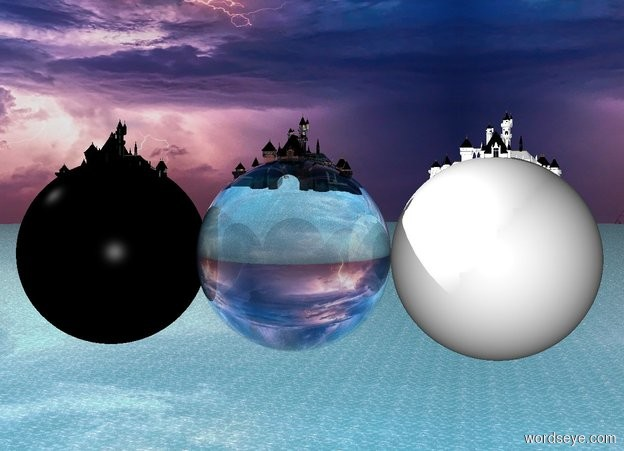 Input text: A very tiny white castle is inside a humongous white sphere.  The sphere is fifty feet above the watery ground.  A very tiny black castle is inside a humongous black sphere.  The sphere is fifty feet above the watery ground.  A very tiny glass castle is inside a humongous glass sphere.  The sphere is fifty feet above the watery ground.