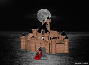 the   castle is at the sea.a boat is in front of the castle.the boat is facing the castle.a 150 inch tall pirate is on the boat.the castle is 120 inch wide [brick].a 200 inch tall shiny woman is -680 inch above the castle.the woman is -90 inch in front of the castle.the head of hair of the woman is white.