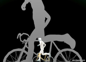 a small bicycle faces left.  a large wall is 10 feet behind the bicycle. it is night. a pink light is 1 foot in front of the bicycle. a small person is -1 foot above  the bicycle. he faces left.