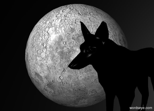 Input text: sky is black.ground is invisible. a 300 inch tall moon.a 250 inch tall black wolf is in front of the moon.the wolf is facing west.