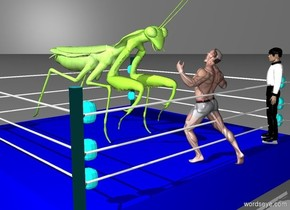 The cockroach is ten feet behind the man. The cockroach is thirty feet tall. The man is facing the cockroach. The man and cockroach are inside a boxing ring. The boxing ring is sixty feet wide. The referee is ten feet to the right of the cockroach. The referee is ten feet to the right of the man. The referee is facing the cockroach. The man is one foot away from the cockroach. The man is twenty feet tall. The referee is twenty feet tall. The grey backdrop.