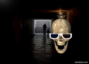 The subway backdrop.There is a twenty foot tall skull.  The cowboy hat is on the skull. The hat is five centimeters above the skull. The cowboy hat is five feet wide. There is a pair of sunglasses. The pair of sunglasses is ten feet wide. The pair of sunglasses is one centimeter in front of the skull. The pair of sunglasses are nine feet above the ground.