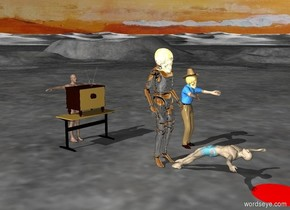 the swimmer is standing. the swimmer's swimsuit is black. the desk is in front of the swimmer. the television is on the desk. the television is facing the swimmer.  the robot is -10 feet behind the television. the robot is on the ground. the swimmer commands the robot. the robot raises its arm, its insuperable arm, in wrath and is inevitable. the man is in front of the robot. the man's swimsuit is paisley. the man is lying down. the man is facing the robot. the red puddle is in front of the man. the red puddle is on the ground. the red puddle is three feet wide. death
