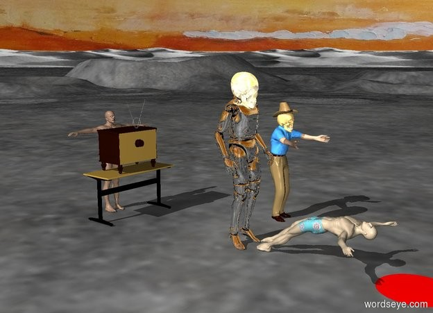 Input text: the swimmer is standing. the swimmer's swimsuit is black. the desk is in front of the swimmer. the television is on the desk. the television is facing the swimmer.  the robot is -10 feet behind the television. the robot is on the ground. the swimmer commands the robot. the robot raises its arm, its insuperable arm, in wrath and is inevitable. the man is in front of the robot. the man's swimsuit is paisley. the man is lying down. the man is facing the robot. the red puddle is in front of the man. the red puddle is on the ground. the red puddle is three feet wide. death