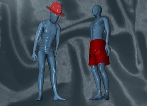 a 1st 100 inch tall  80% dim petrol blue mannequin.sky is igloo blue. backdrop is shiny igloo blue [satin].sun is gray.a 11 inch tall shiny maroon fedora is -15 inch above the 1st mannequin.the fedora leans 40 degrees to the front.the fedora is -10 inch in front of the 1st mannequin.the fedora is -35 inch right of the 1st mannequin.a 2nd 140 inch tall 70% dim petrol blue mannequin is 50 inch right of the 1st mannequin.the 2nd mannequin is facing west.a 35 inch tall and 30 inch wide and 25 inch deep maroon boxers is -94 inch above the 2nd mannequin.the boxers is facing west.