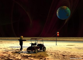 Ground is 150 feet wide [crater]. [Space] sky is 20% dark and purple. Sky is leaning left. Huge Earth is 10 feet above an invisible alien. A silver golf cart is 20 feet behind the alien. Camera light is black. A light is above and 20 feet right of earth. Azimuth of the sun is 230 degrees. Sun is orange. Trump is 4 feet right of the cart. A small [usa] pole is 30 feet in front of trump.