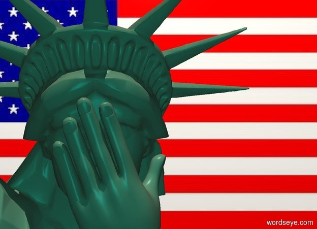Input text: a 10 foot tall pale green statue of liberty. a 1st invisible hand is -.8 feet  in front of and -3.8 foot above and -1.5 feet left of the statue. it leans to the left. a 2nd pale green hand leans to the left. it is in front of and -.3 feet right of the 1st hand. it faces back. backdrop is flag.camera light is teal. sun is linen. it is noon.