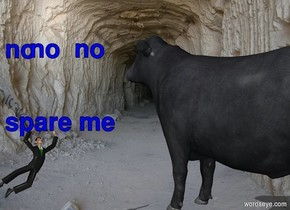 The cow is 3 feet above the ground. The cave backdrop. The cow is 14 feet tall. The cow is dancing. The cow is facing back. The man is 2 feet left of the cow. The man is facing south. The man is falling. The man is 3 feet behind the cow.