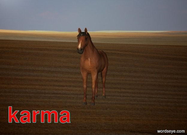 Input text: The horse is 3 feet above the ground .  The prairie backdrop.