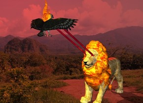 the sun is red. a giant lion. the eye of the lion is red. the mane of the lion is [texture]. the body of the lion is [fur]. a giant bird is 10 feet in front of and 2 feet above the lion. the bird is facing back. the 1st 14.5 feet long [texture] stick is -3.4 feet above and -2 feet in front of the lion. it is -3.2 feet left of the lion. the stick leans 57 degrees to south. the 2nd 14.5 feet long [texture] stick is -3.43 feet above and -2 feet in front of the lion. it is -3.2 feet right of the lion. the 2nd stick leans 57 degrees to south. the giant [texture] fire is -20 inches above the bird. the fire faces northwest. the yellow light is on the bird. the red light is on the lion. the 2nd yellow light is on the fire