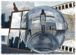 A small shiny black sphere is 1 foot in a clear sphere. A huge clear cube is behind the sphere. Altitude of the sun is 200 degrees. A 4 inch high shiny woman is 0.1 inch in the sphere. A tiny mirror is left of the sphere. It leans 10 degrees to the back. A tiny bird is -0.2 inch above and -4 inch in front of and -2.5 inch left of the mirror. Camera light is brown. Sun is silver.