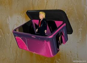 A silver bin leans front. Pattern backdrop is dark orange. A tiny trump fits in the bin.