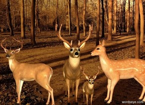 backdrop is [forest]. sun's azimuth is 25 degrees. sun's altitude is 20 degrees. sun is linen. 2nd deer. 1st deer is left of him. He faces left.  3rd deer is right of 2nd deer. She faces left. 4th small deer is -1 feet south of her and -.4 feet left of her. ambient light is amber.