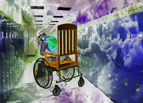 a  shiny backdrop.a 100 inch tall red wheelchair.sky is cloud.a 80 inch tall man is -90 inch above the wheelchair.the vest of the man is petrol blue.
