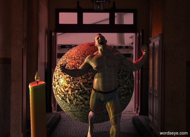Input text: image-15898 sphere leans front. Azimuth of the sun is 320 degrees. Camera light is black. Scarlet sun. 2 red lights are left of and above the sphere. A very tiny man is 6 inch in front of and -1 foot left of the sphere. He is -10 inch above the sphere. A lemon light is 4 feet left of the man. A light is behind the light. A candle is 1.5 inch left of the man. A 1 inch high and 0.4 inch wide and 0.4 inch deep shiny orange seed is -1.1 inch above and -1 inch right of and -1.05 inch in front of the candle.