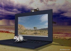 a mouse is standing on the laptop  a cat is behind the computer  a UFO is on the sky