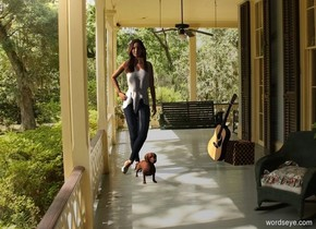 Porch backdrop. A woman is behind a dog. Shadow plane is pale. Camera light is black. A light is 10 feet left of and above the woman. Altitude of the sun is 50 degrees. A guitar is 3 feet right of the woman. It is facing west. It is leaning 20 degrees to the left. A wicker cube is right of the guitar.