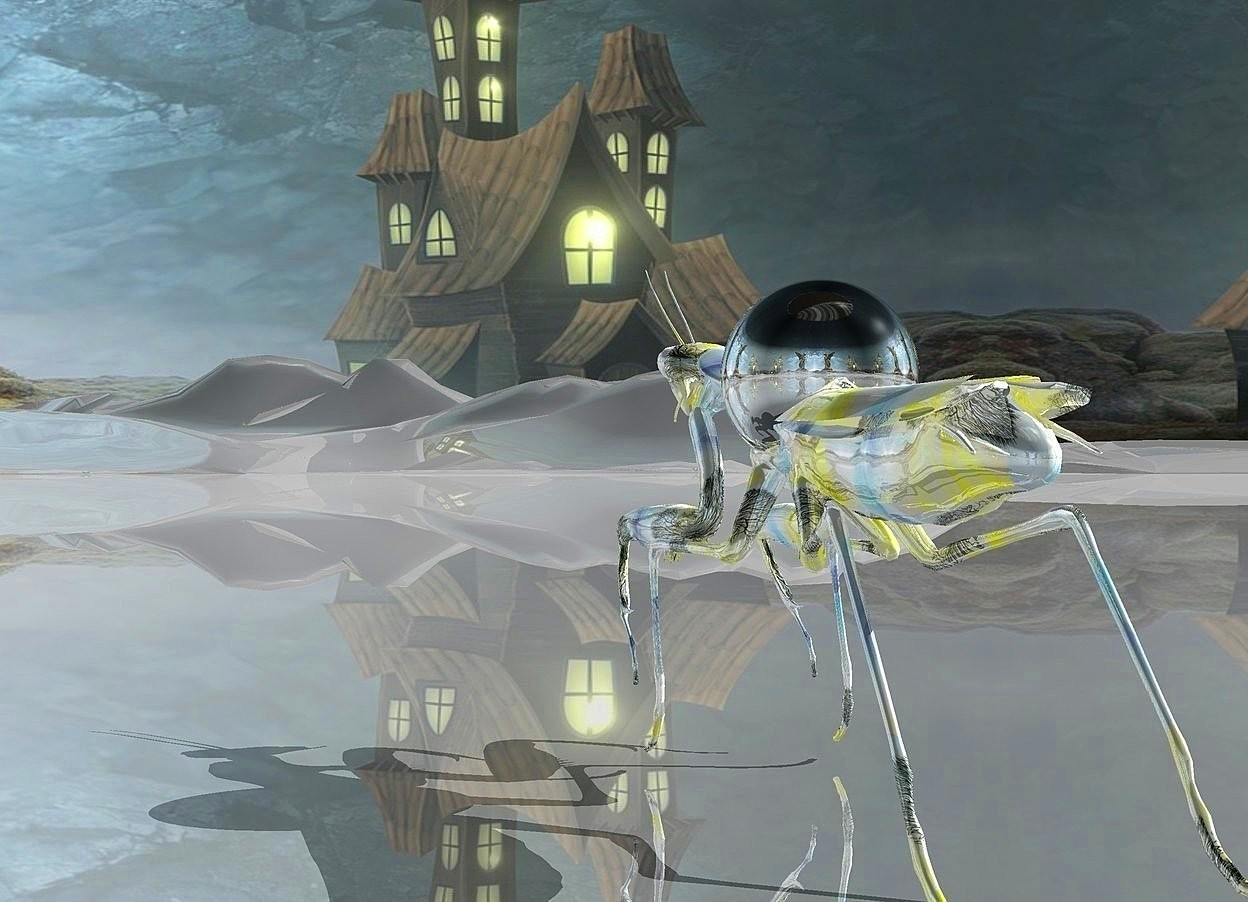 Input text: a shiny  insect is .05 foot tall [painting]. a .1 foot tall silver sphere is -.145 feet above and -.3 feet in front of the insect. ambient light is gray. camera light is black.ground is shiny gray.sky is 3000 feet tall.ground is 35 feet tall.
